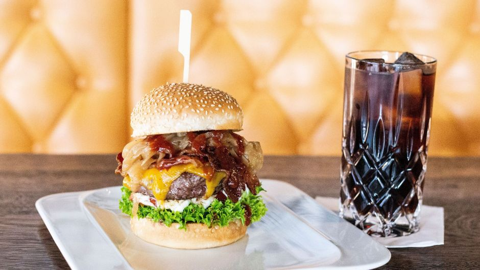 The lunchtime deal at Bulldog City: exuberant burger plus coke.